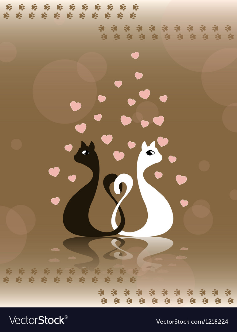 Pair loving cats vector | Price: 1 Credit (USD $1)