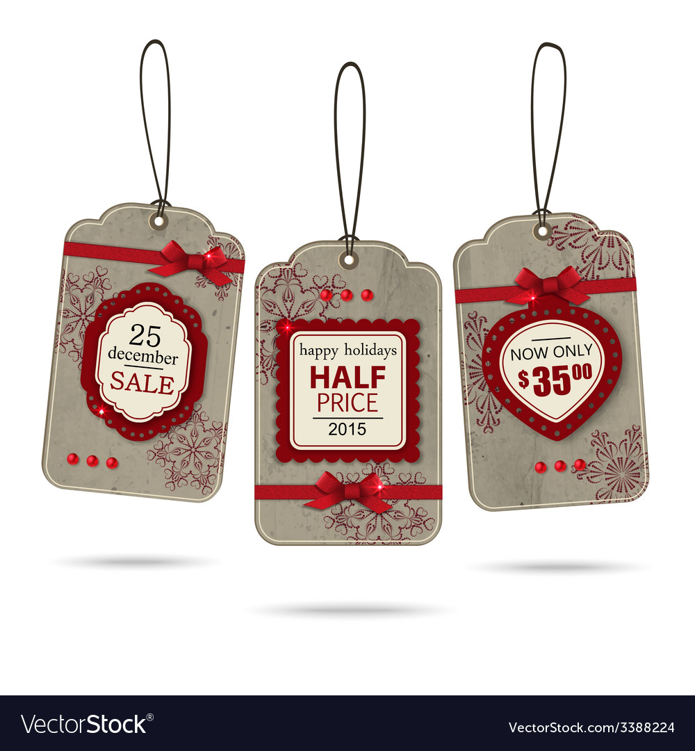 Set of three vintage christmas sale labels vector | Price: 1 Credit (USD $1)