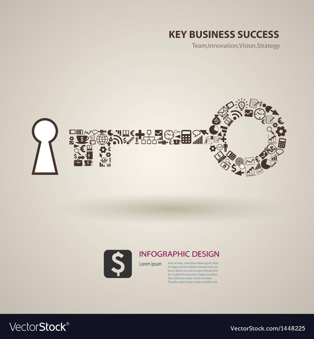A keys with icons of business as a background vector | Price: 1 Credit (USD $1)