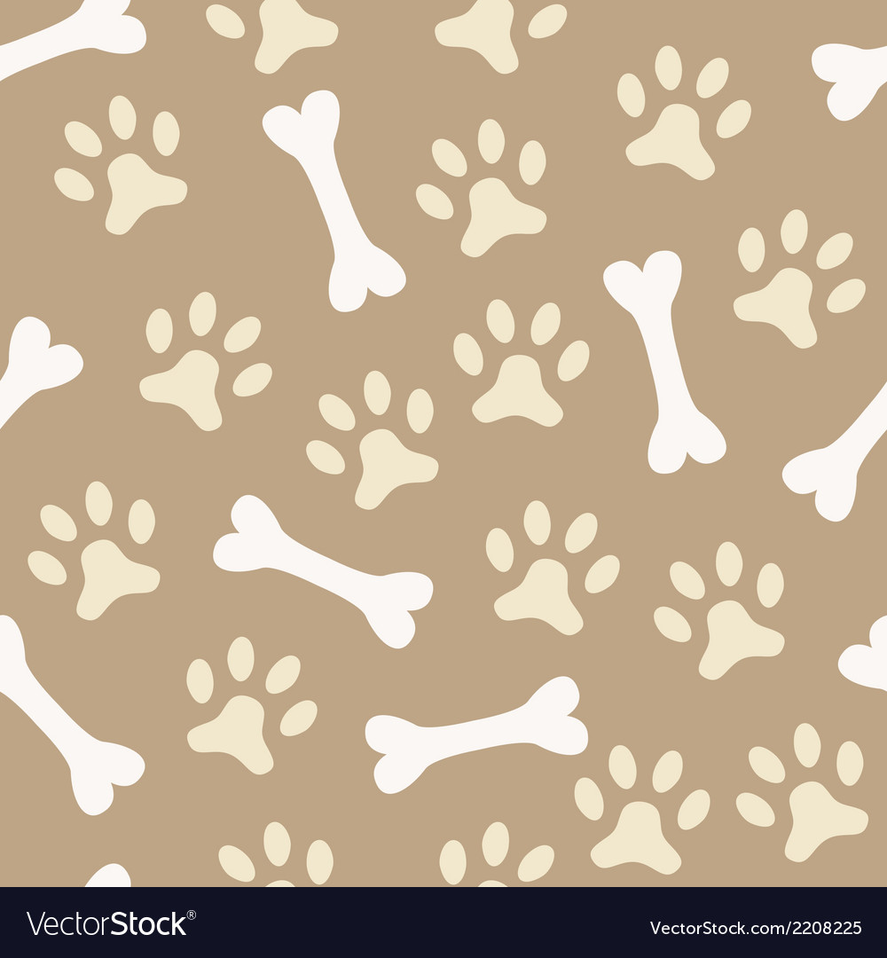 Animal seamless pattern of paw footprint and bone vector   Price: 1 Credit (USD $1)