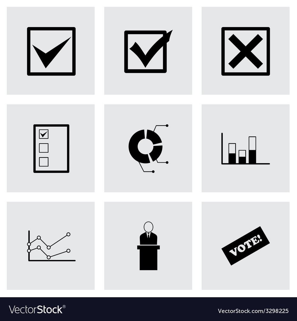 Black election icon set vector | Price: 1 Credit (USD $1)