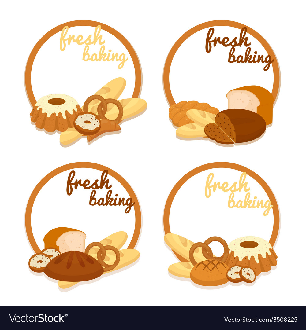 Fresh baking price badges vector | Price: 1 Credit (USD $1)