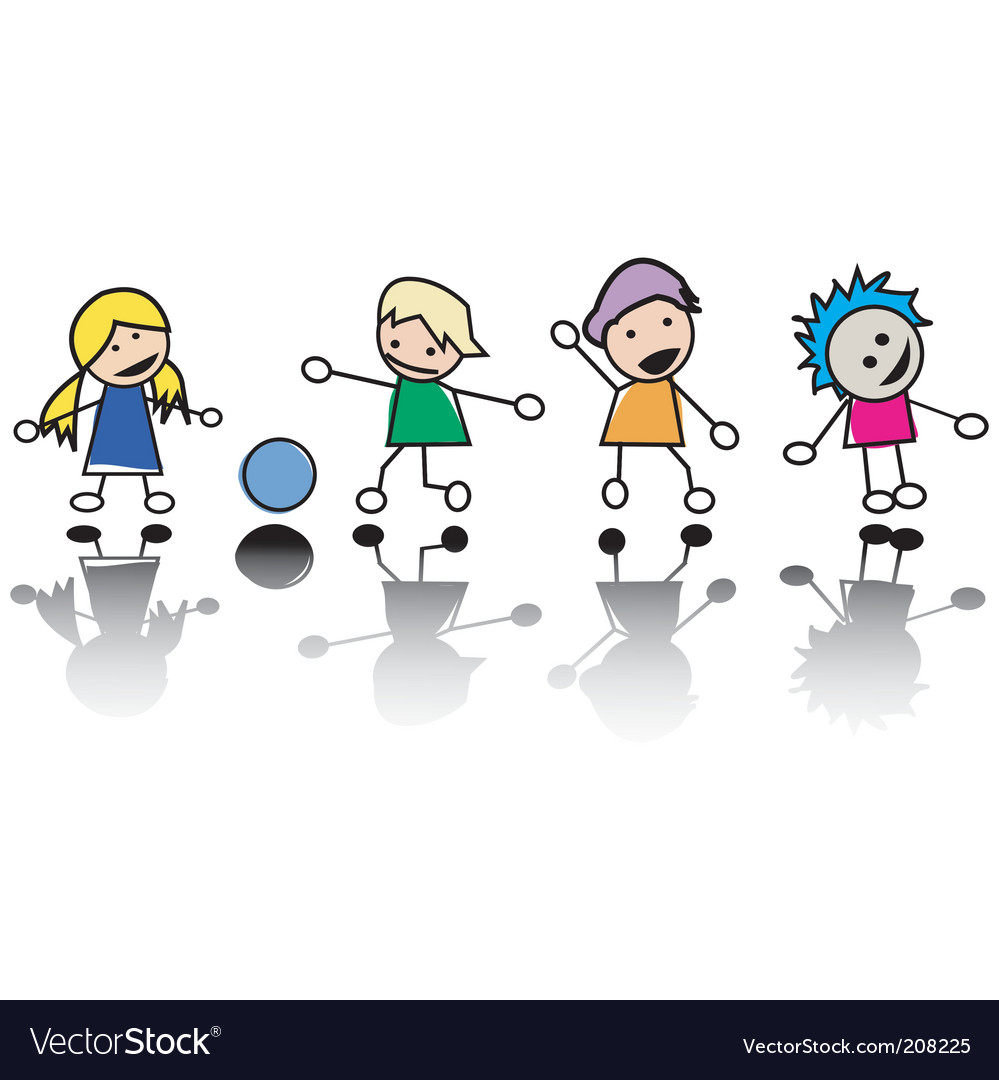 Happy little children at play vector | Price: 1 Credit (USD $1)