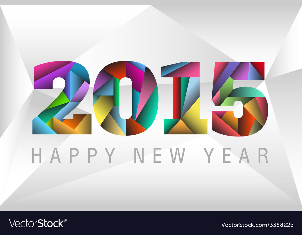 Happy new year 2015 with colorful triangles vector | Price: 1 Credit (USD $1)