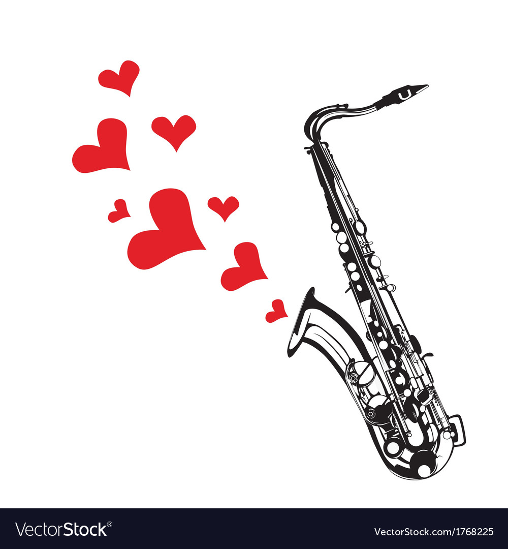 Heart love music saxophone playing a song for vale vector | Price: 1 Credit (USD $1)
