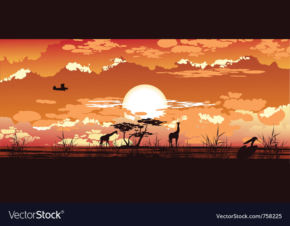 Plane flies at dusk over the african savanna vector | Price: 3 Credit (USD $3)