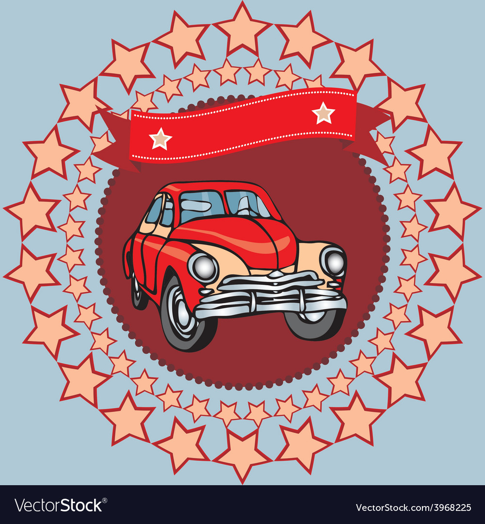 Red vintage car on a gray background with stars vector | Price: 1 Credit (USD $1)