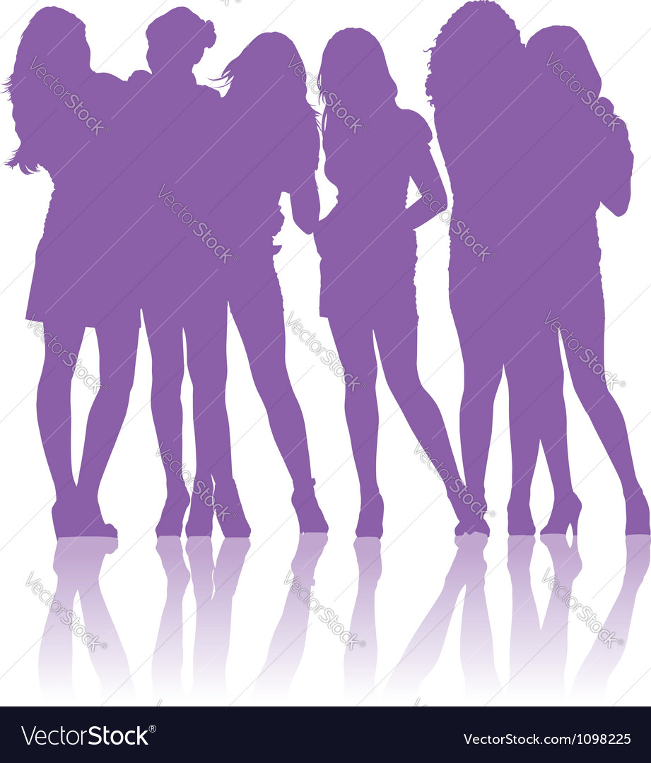 Teenage schoolgirls talking to each other vector | Price: 1 Credit (USD $1)