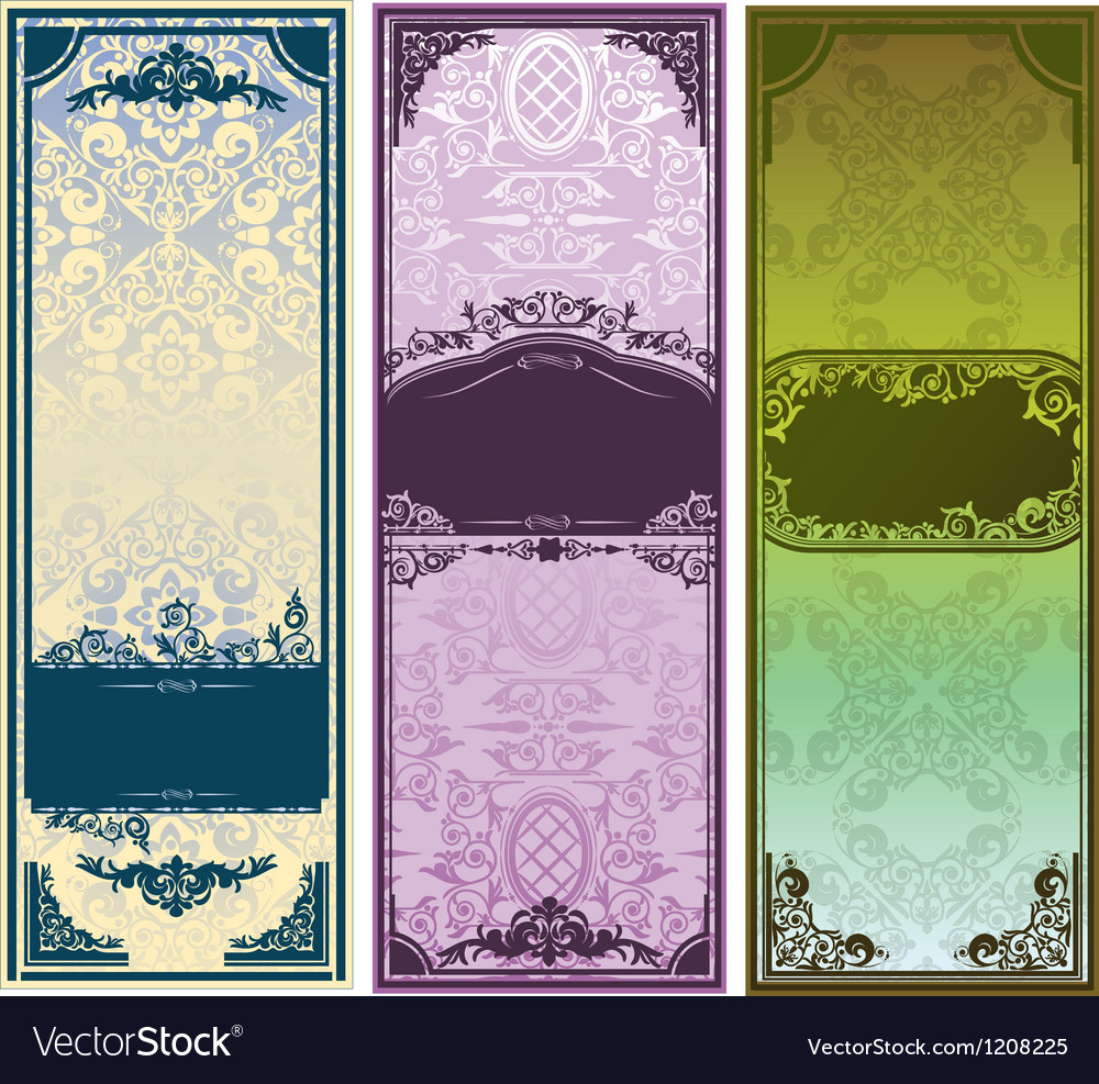Three vertical colorful banners with classic vector | Price: 1 Credit (USD $1)