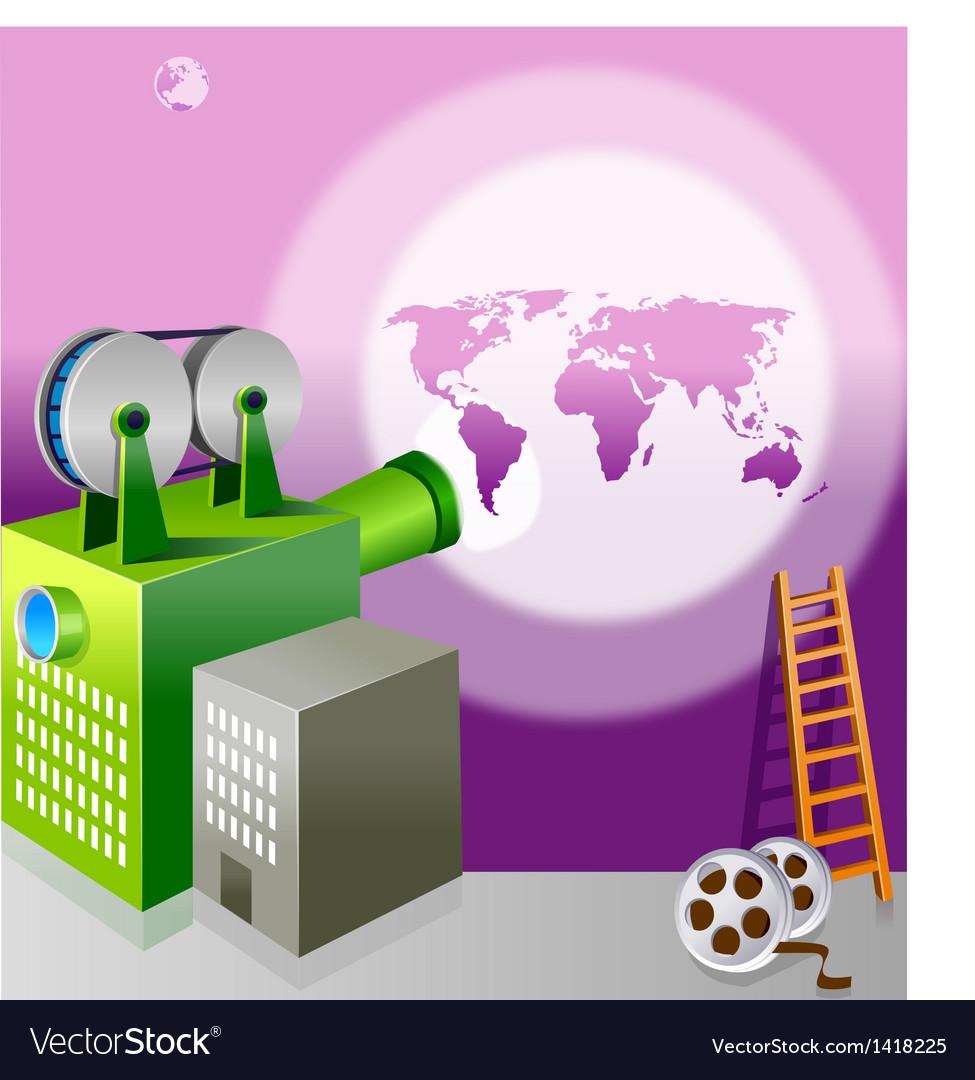 Video camera toward globe vector | Price: 1 Credit (USD $1)