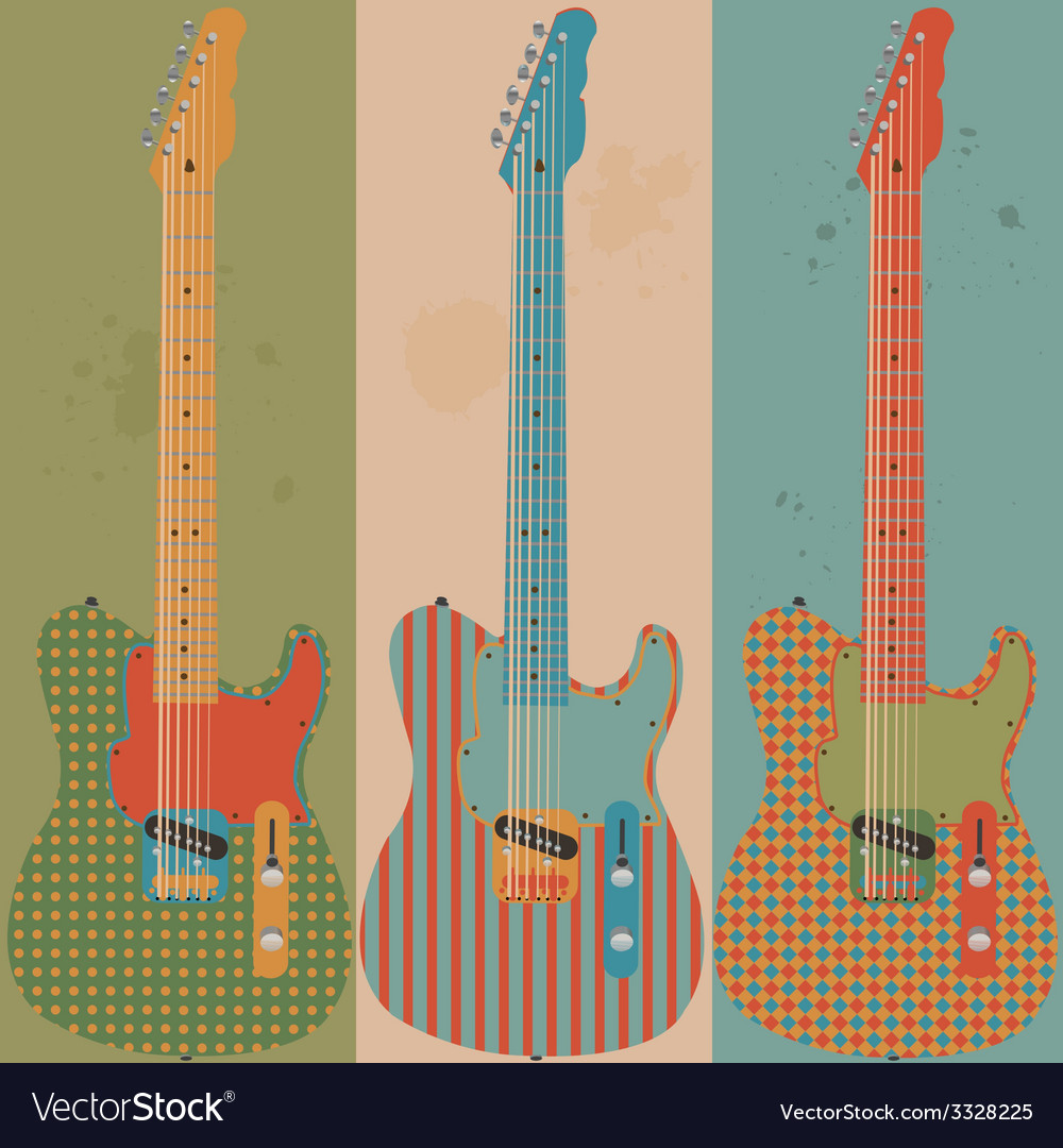 Vintage electric guitars vector | Price: 1 Credit (USD $1)