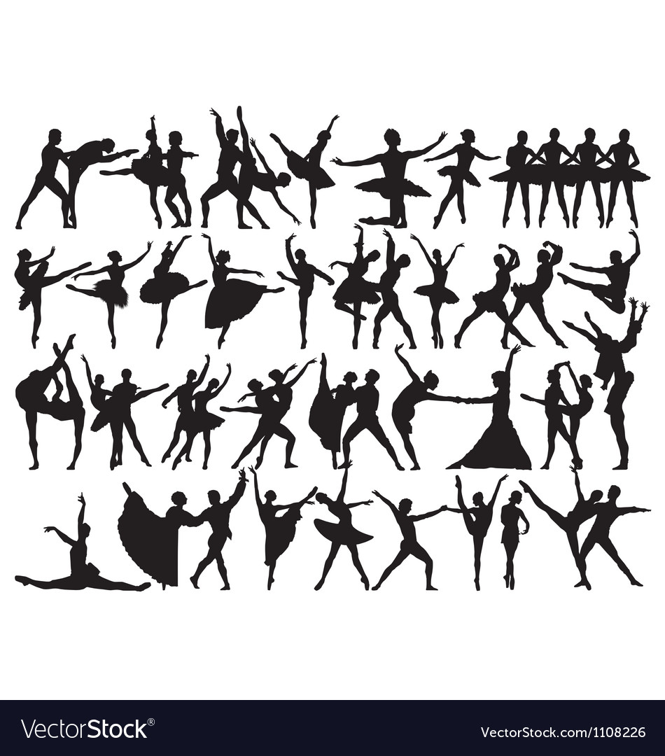 Ballet dancer silhouettes vector | Price: 1 Credit (USD $1)