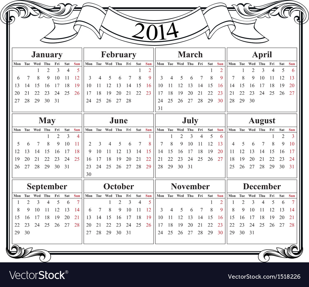 Calendar grid 2014 blank template vector | Price: 1 Credit (USD $1)