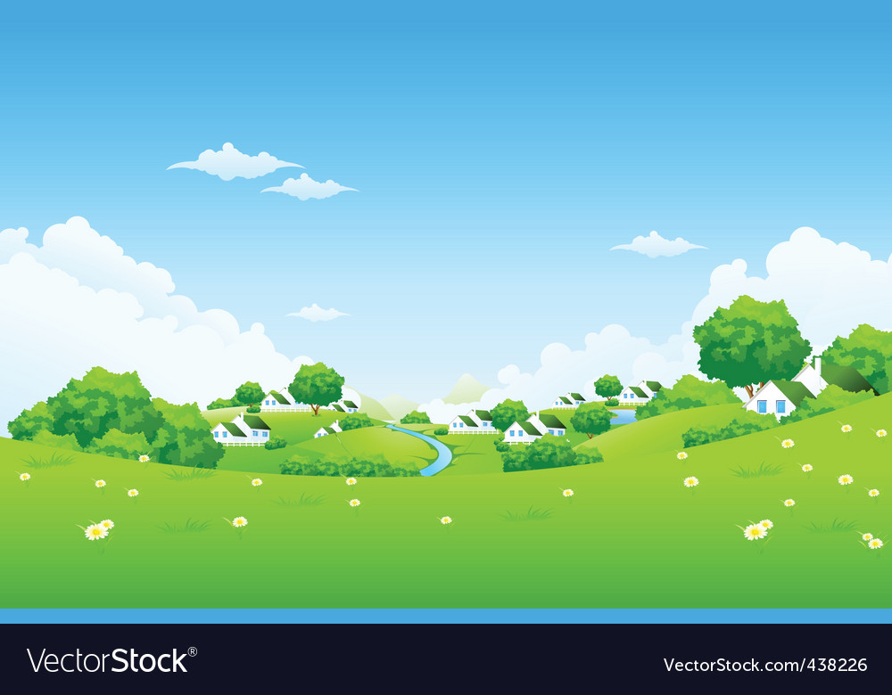 Green landscape with houses vector | Price: 3 Credit (USD $3)