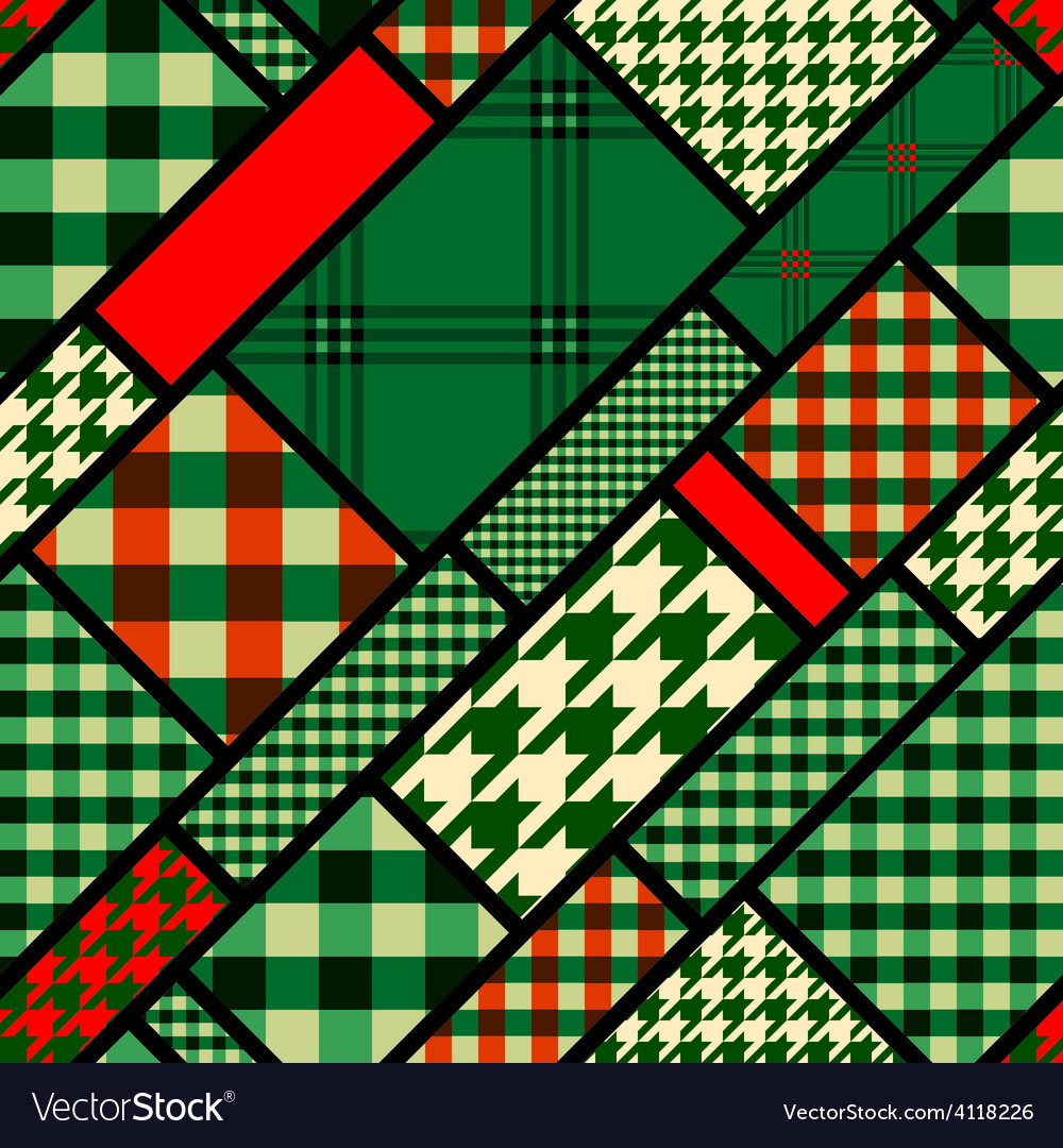 Patchwork pattern with green plaid patches vector | Price: 1 Credit (USD $1)