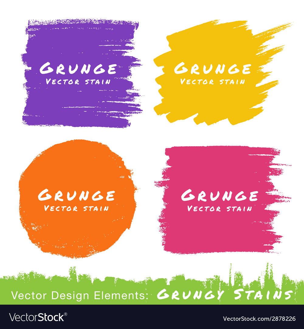 Set of hand drawn flat grunge stains on white back vector | Price: 1 Credit (USD $1)