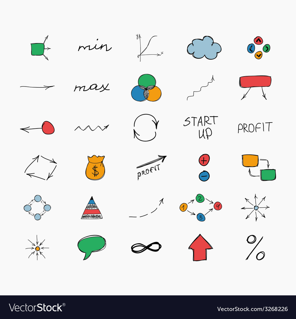 Simple colorful hand drawn icons business and vector | Price: 1 Credit (USD $1)