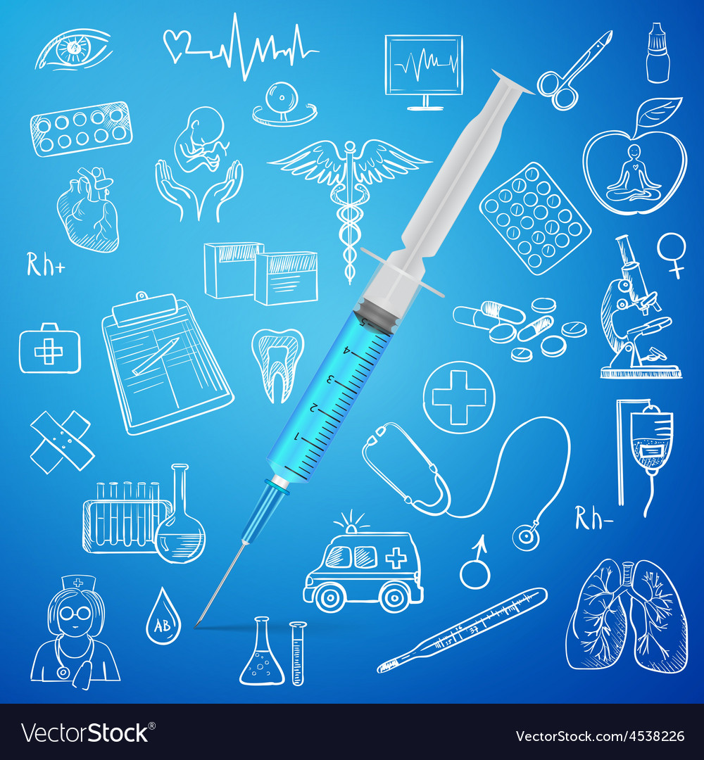 Syringe and hand draw medicine icon vector | Price: 1 Credit (USD $1)