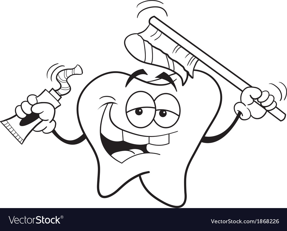 Tooth with toothbrush vector | Price: 1 Credit (USD $1)