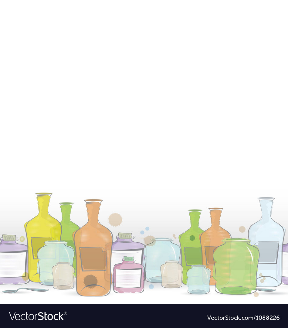 Water color jars border vector | Price: 1 Credit (USD $1)