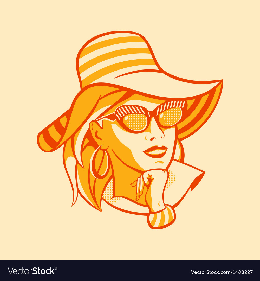 Beach retro woman vector | Price: 3 Credit (USD $3)