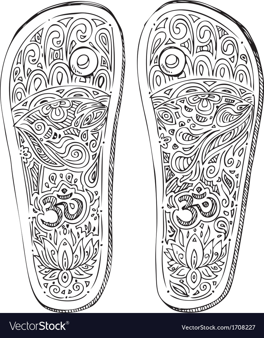Black and white indian paduka shoes vector | Price: 1 Credit (USD $1)