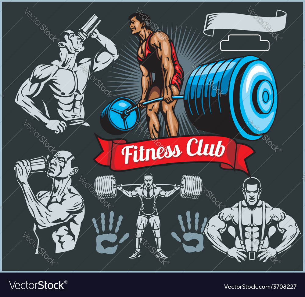 Bodybuilder with a barbell - set vector | Price: 3 Credit (USD $3)