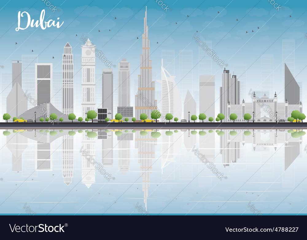 Dubai city skyline with grey skyscrapers vector | Price: 1 Credit (USD $1)