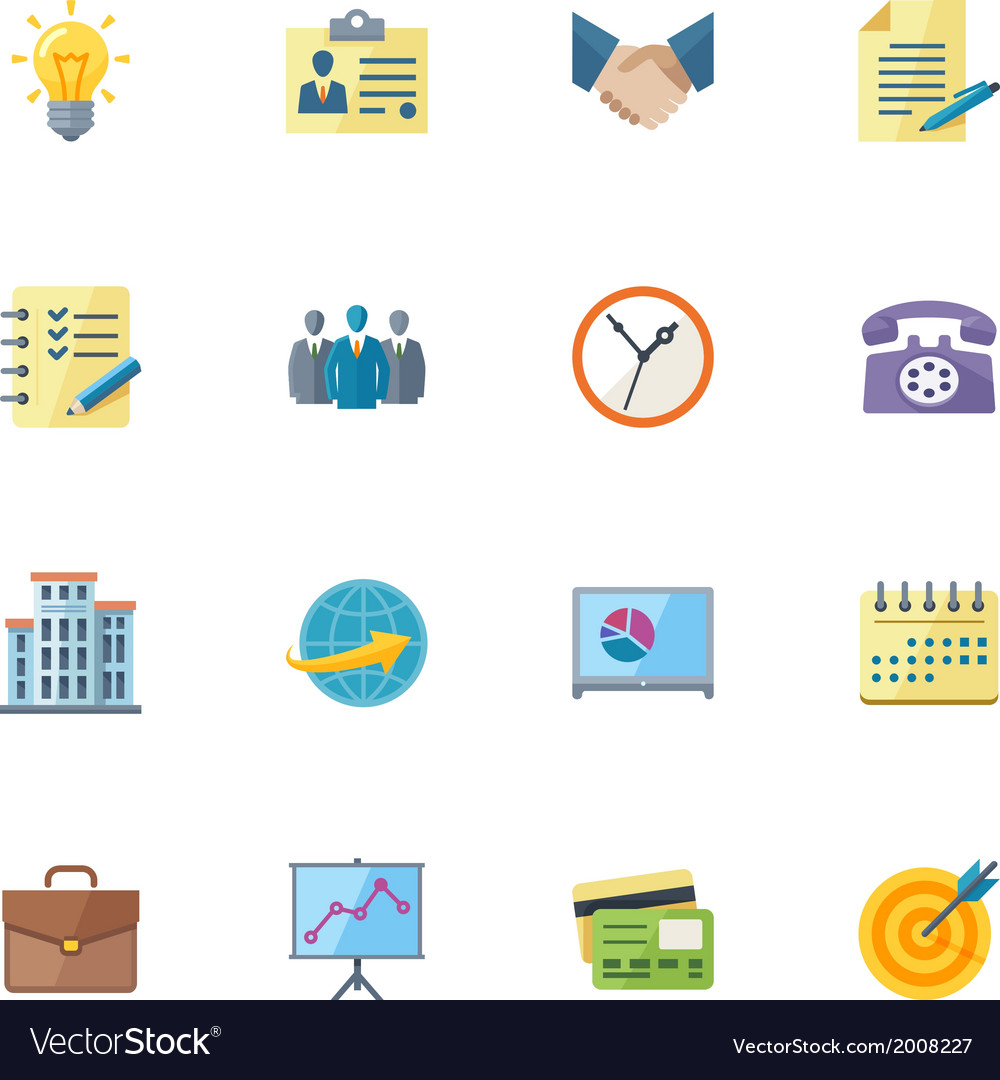 Flat business and office icons vector | Price: 1 Credit (USD $1)