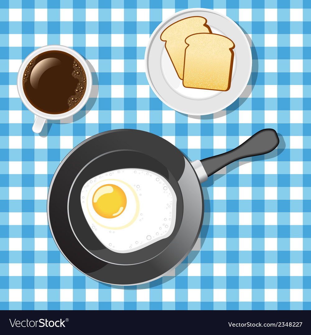 Fried egg with toasts and coffee vector | Price: 1 Credit (USD $1)