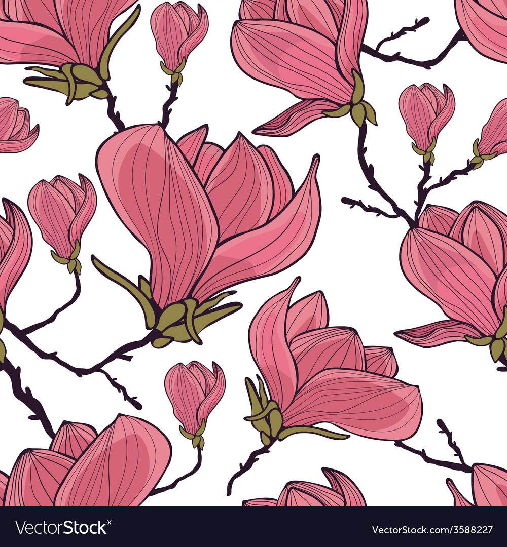 Magnolia seamless pattern vector | Price: 1 Credit (USD $1)