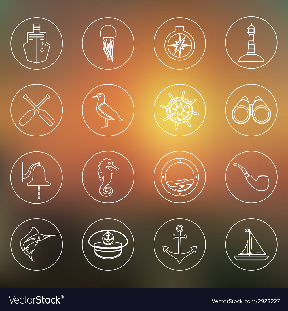 Nautical icons set outline vector | Price: 1 Credit (USD $1)