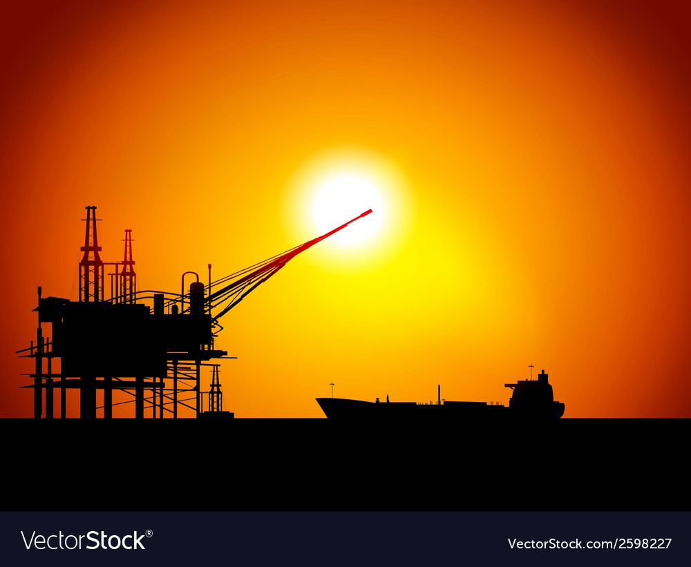 Oil sea station vector | Price: 1 Credit (USD $1)
