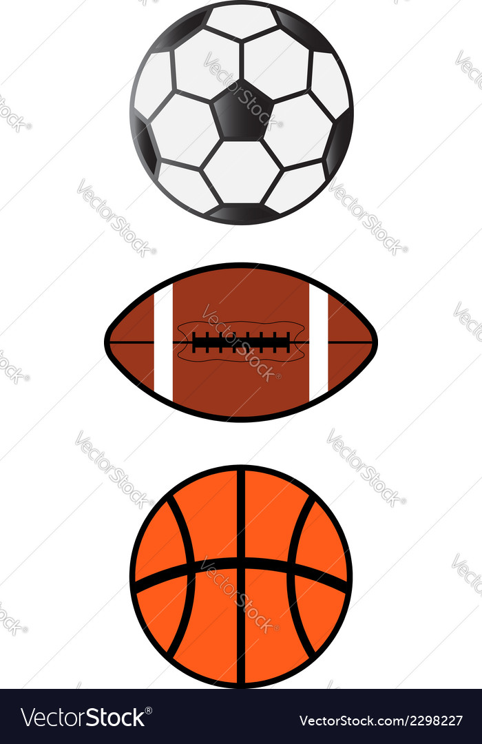 Sport balls soccerfootball basketball vector | Price: 1 Credit (USD $1)