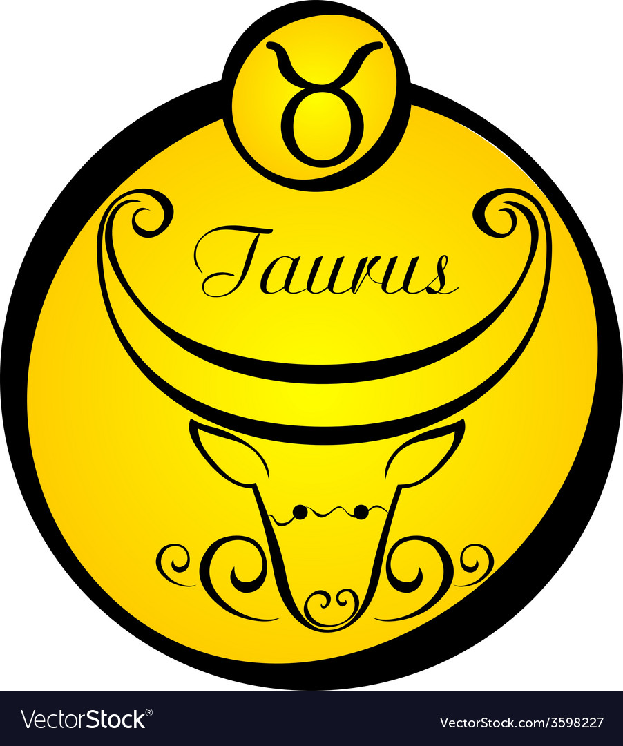 Stylized zodiac signs in a yellow circle taurus vector | Price: 1 Credit (USD $1)