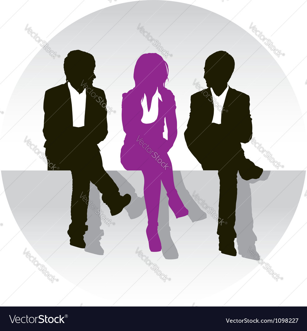 Teenage school children sitting on the curb vector | Price: 1 Credit (USD $1)