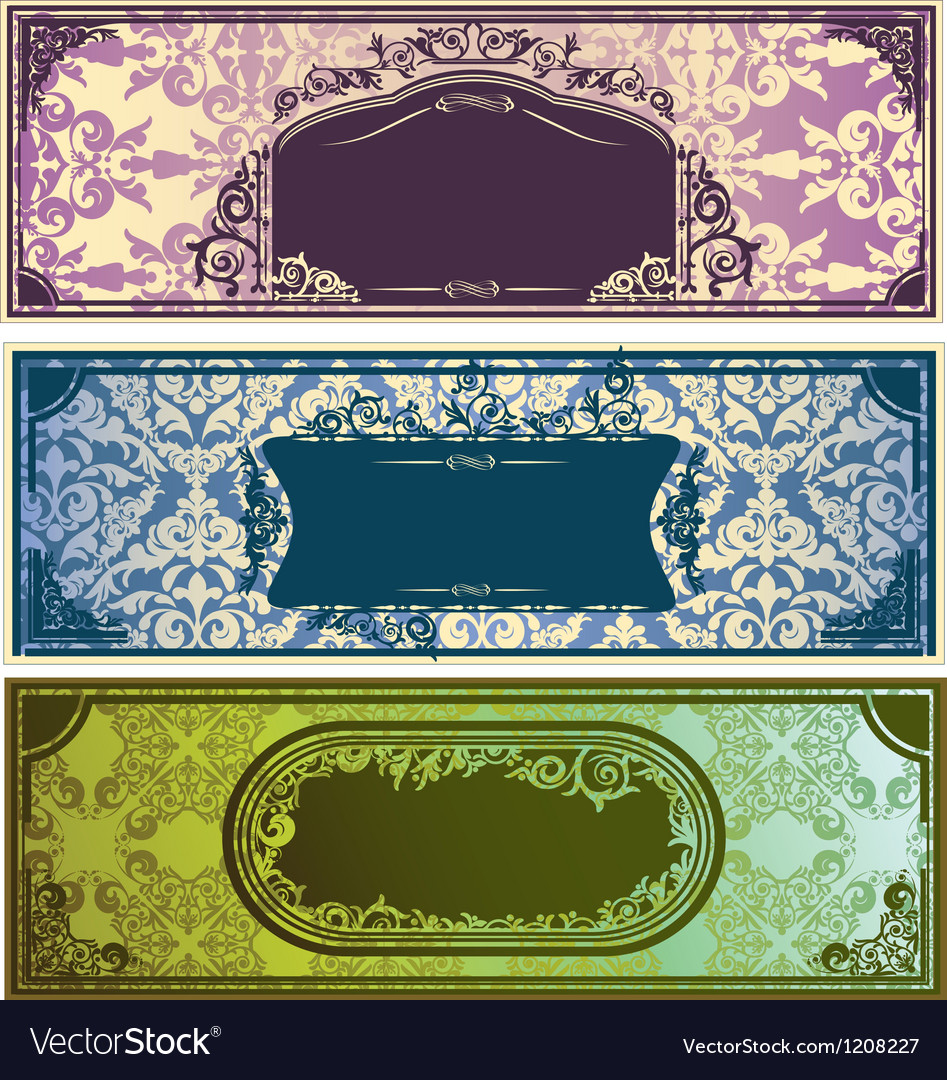 Three horizontal colorful banners with classic vector | Price: 1 Credit (USD $1)