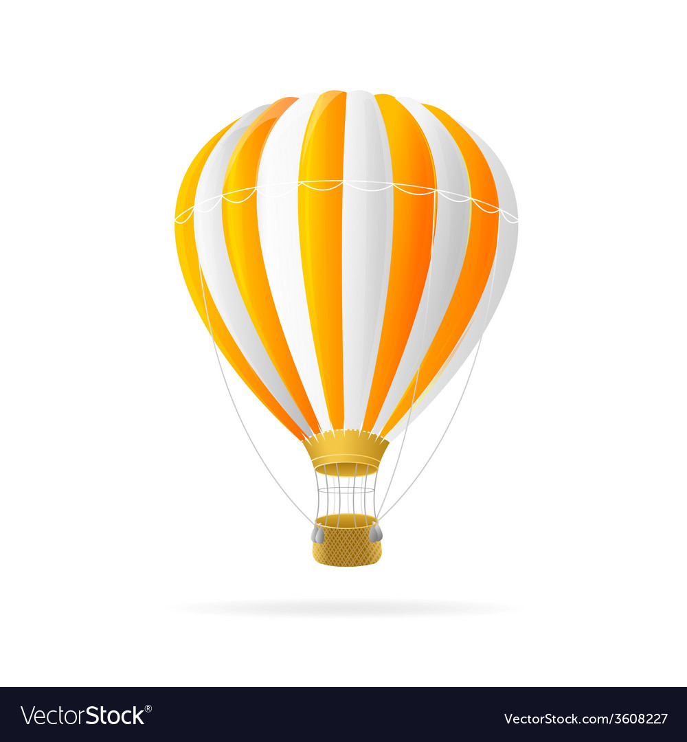 White and orange hot air ballon isolated vector | Price: 1 Credit (USD $1)