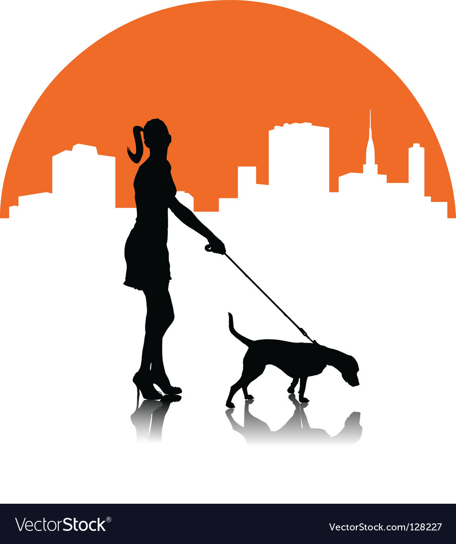 Woman with dog vector | Price: 1 Credit (USD $1)