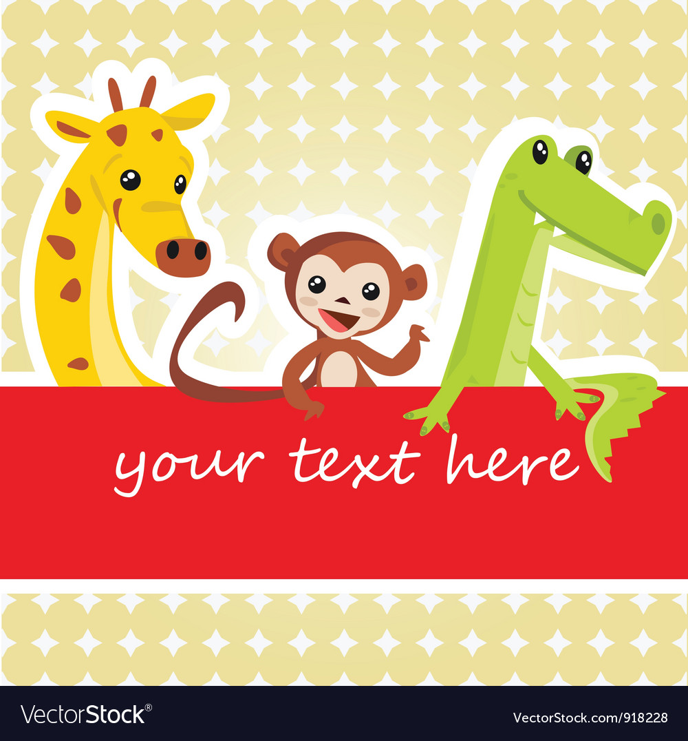 Cartoon animal card vector | Price: 1 Credit (USD $1)