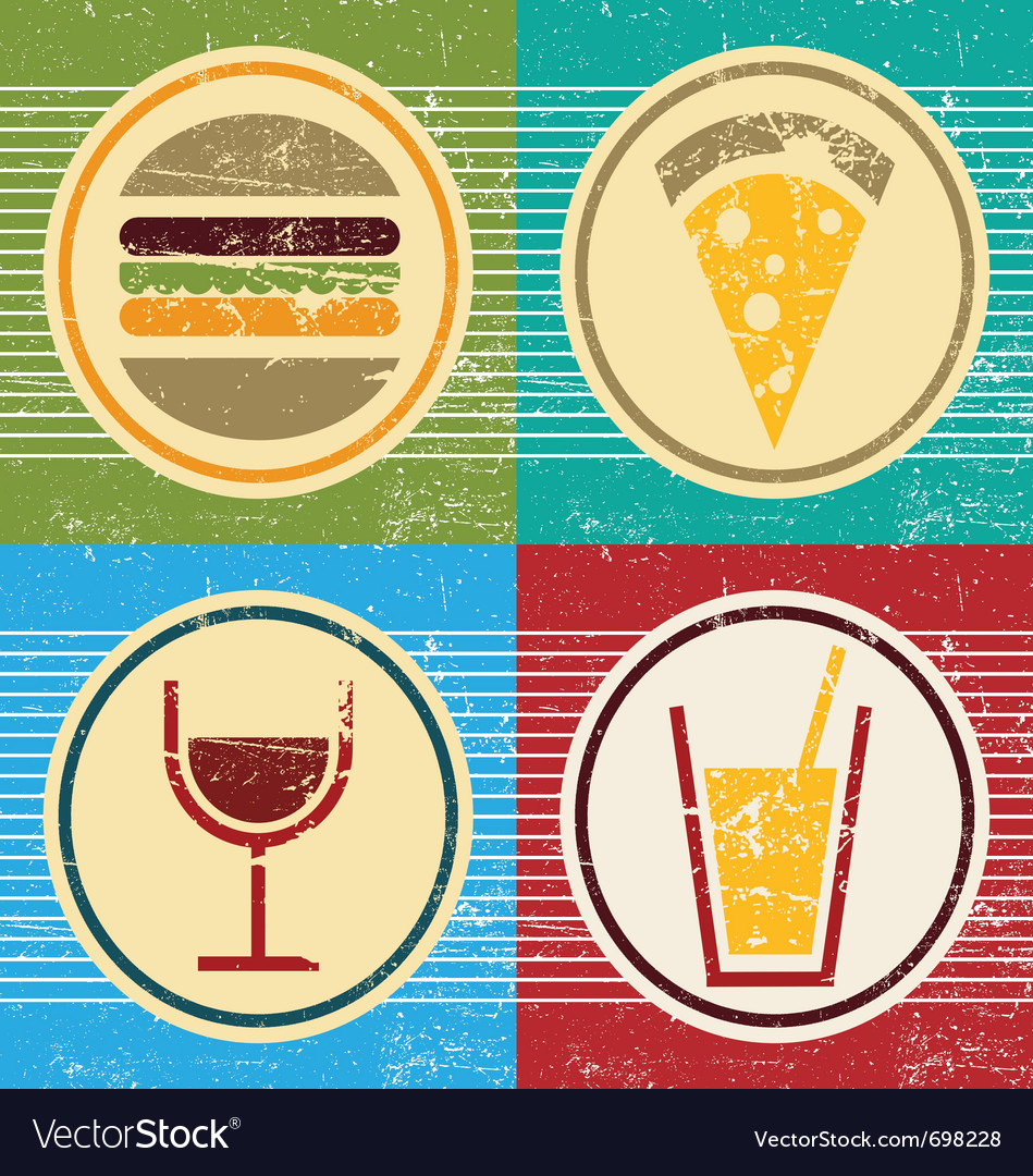 Colorful grunge set of food and drink icons vector | Price: 1 Credit (USD $1)