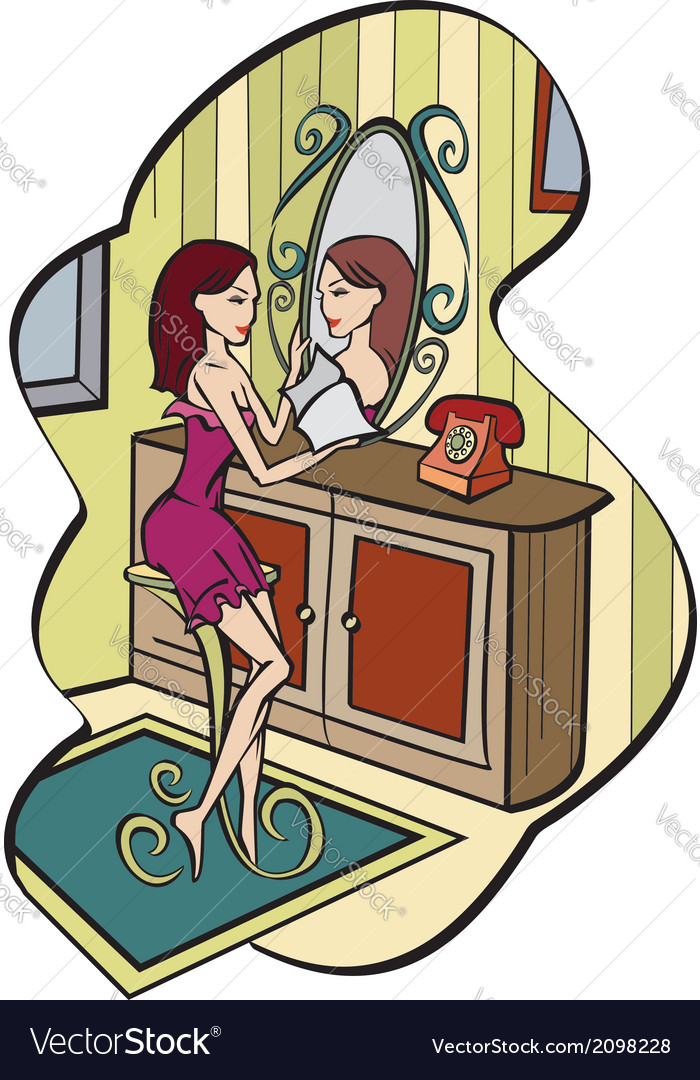 Girl in its room vector   Price: 1 Credit (USD $1)
