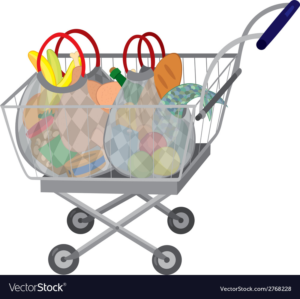 Grocery store shopping cart with full bags vector | Price: 1 Credit (USD $1)