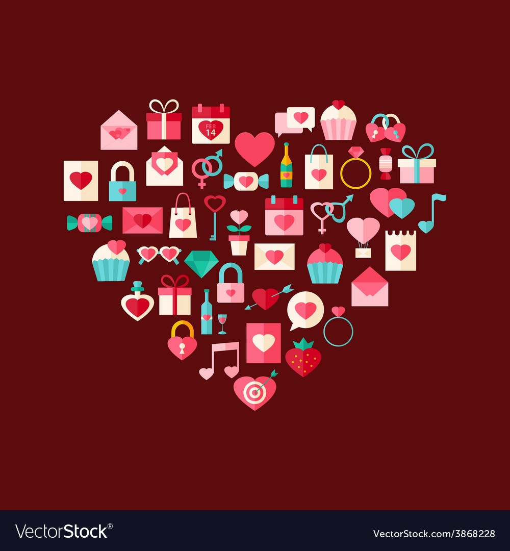 Heart shaped valentine day flat style icons vector   Price: 1 Credit (USD $1)