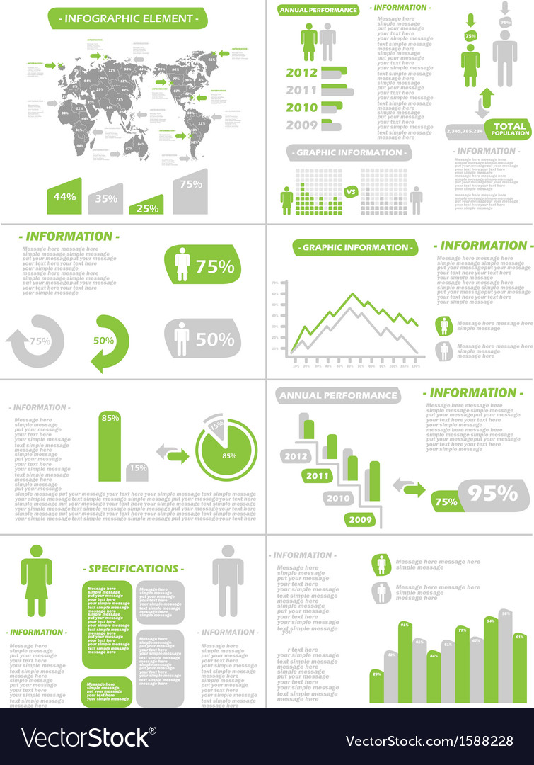 Infographic demographics new style green vector | Price: 1 Credit (USD $1)