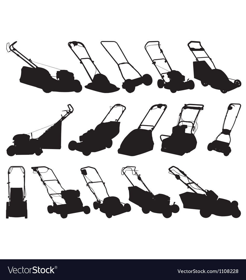 Lawn mower silhouettes vector   Price: 1 Credit (USD $1)