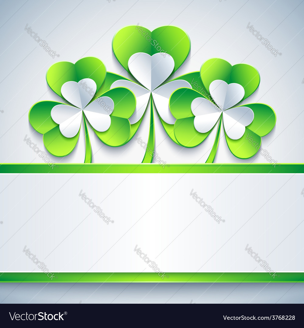 Patricks day card grey with leaf clover and paper vector   Price: 1 Credit (USD $1)