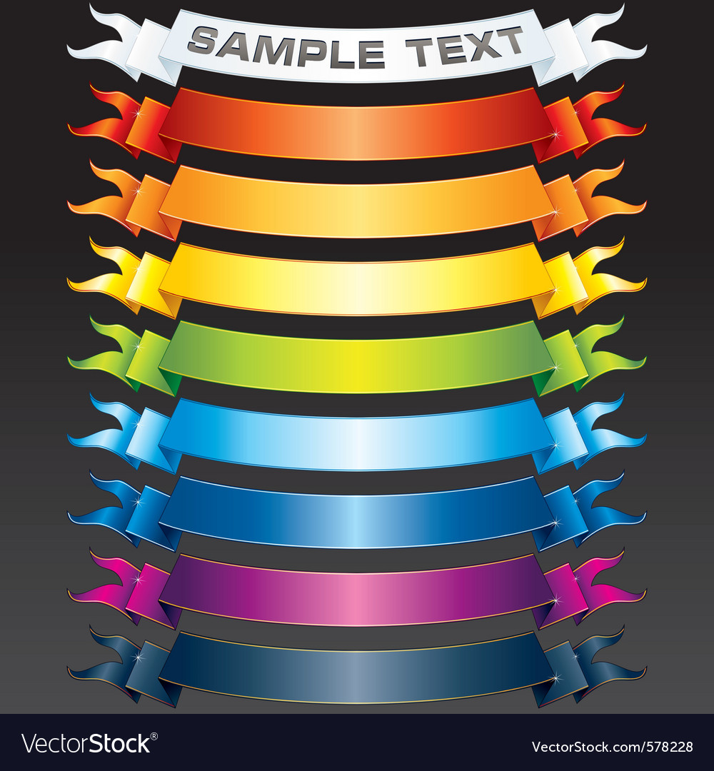 Set of multicolored ribbons vector | Price: 1 Credit (USD $1)