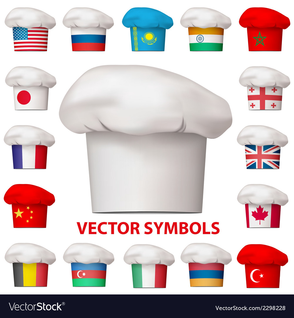 Set of national cuisine icons symbols vector | Price: 1 Credit (USD $1)