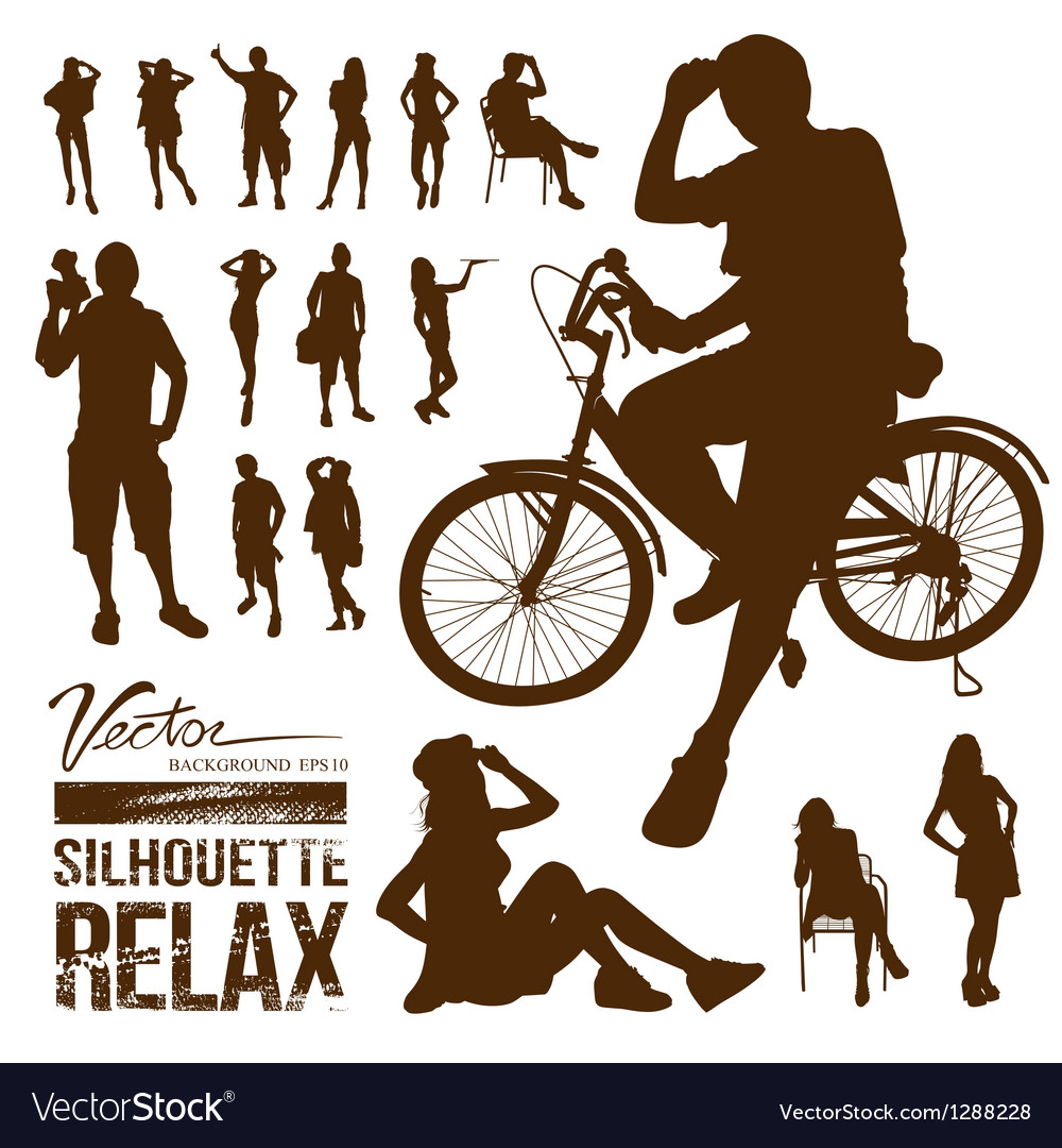 Silhouette people relax action design vector   Price: 1 Credit (USD $1)